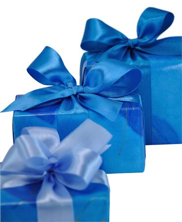 festively: Three Blue Gift Boxes with Bows Isolated on White