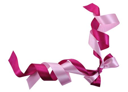 Bow made of Pink Ribbons Isolated on White photo