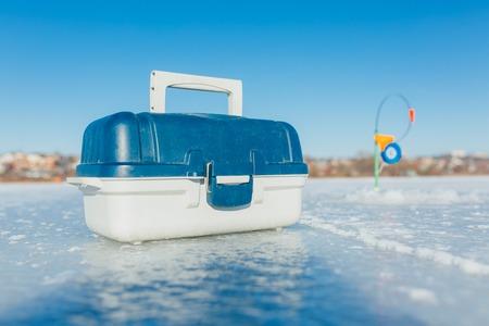 Fishing gear for winter fishing, fishing boer 스톡 콘텐츠