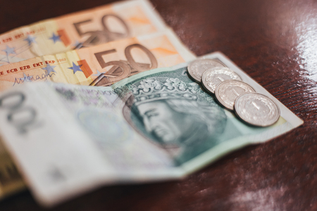 Fifty euro and banknotes on the table