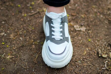 Light sneakers for sports in the forest Stock Photo