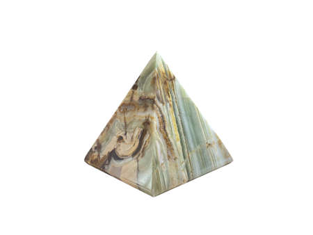 Onyx pyramid close-up on a white isolated background