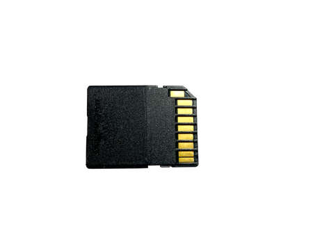 Memory card with gold contacts on the back panel with a high-speed UHS-I bus close-up on a white isolated background Standard-Bild