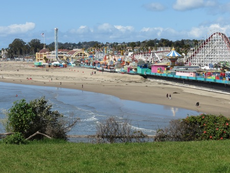 The retaining wall along the boardwalk at Main Beach was shored up in order to prevent damage by the flood of late March 2012 at the San Lorenzo River mouth, Santa Cruz, Ca  Stock Photo - 13140181