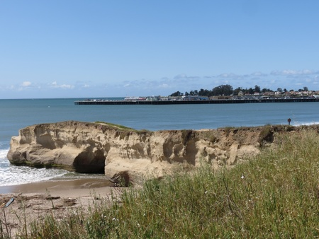 gro: April 5, 2012, Main Beach replenishment project after flood of March. Point San Lorenzo also known as the river mouth, is a sandstone cliff that extends into the bay in Santa Cruz, California. The municipal wharf is visible in the background and grass gro