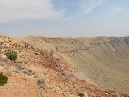 observers: Observers on the stairs and viewing platform at Meteor Crater park in Arizona