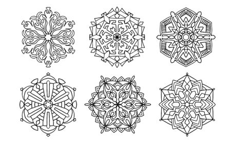 set of vector black mandalas. Mandal design for coloring, graphic design, decor
