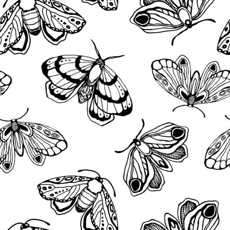 seamless vector pattern. black white butterflies and stars. for textiles, office, wallpaper Vetores