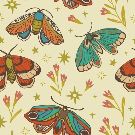 seamless pattern. butterfly, flower, star. magic vintage illustration for textiles, office wallpaper
