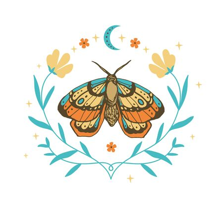 butterfly, flower, star. magic vintage illustration for textiles, office clothing design