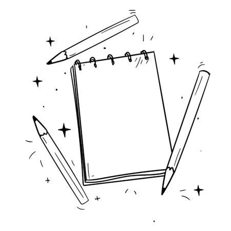 bloc de dessin et crayons, modèle vectoriel pour la conception Vecteurs