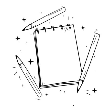 drawing pad and pencils, vector pattern for design