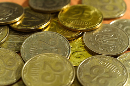 25 cents: Ukraine Coins in denominations of 25 cents. Macro shot of coins. Stock Photo