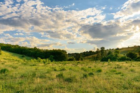 Summer landscape, meadow outside the city with beautiful sky