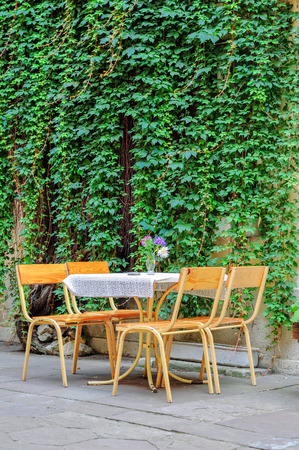 Tables and chairs of street cafe near a wall with ivy