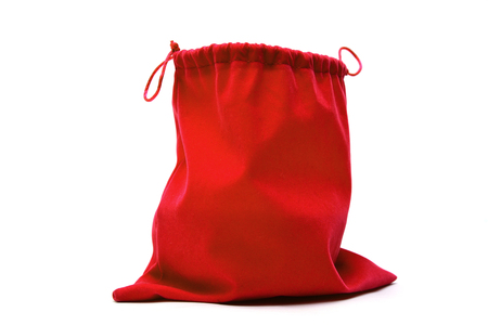 Red bag for gifts on a white background