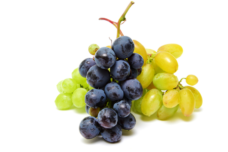 Blue and green wet Isabella grapes bunch isolated on white background as package design element
