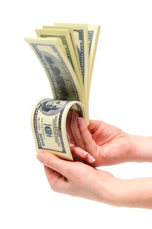 earned: Counting dollar bills. Joy earned money. Stock Photo