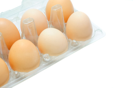 Eggs in a plastic tray on a white background.