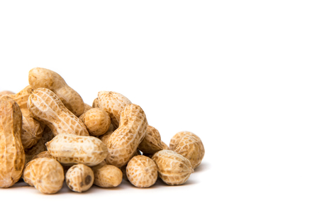 Heap of nuts on white background