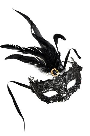 Masquerade mask of the woman. Festive masquerade. Black luxury mask on white background isolated.