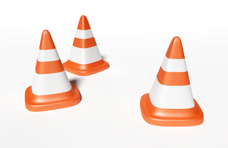 3d road cone rendering illustration. 3d cone road on white background.