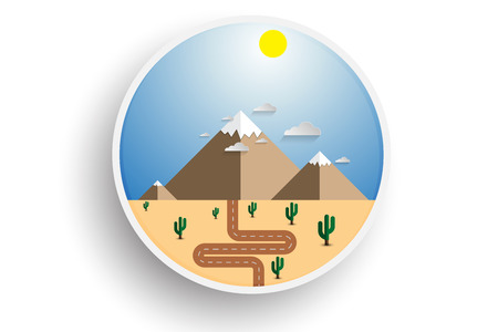 The road through the desert to mountains. Snow tops of mountains on the horizon. Two mountains in flat style. Icon sticker