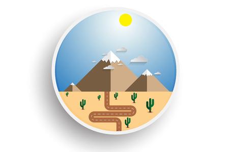 The road through the desert to mountains. Snow tops of mountains on the horizon. Two mountains in flat style. Icon sticker