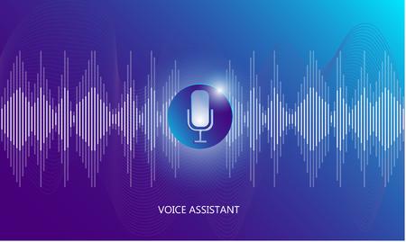 Voice assistant, sound wave propagation illustration. Technology and Innovation. Audio waveform diagram talk ai.