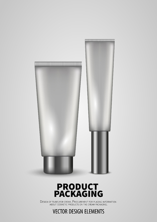 Clear set tubes for cream, vector mockup.