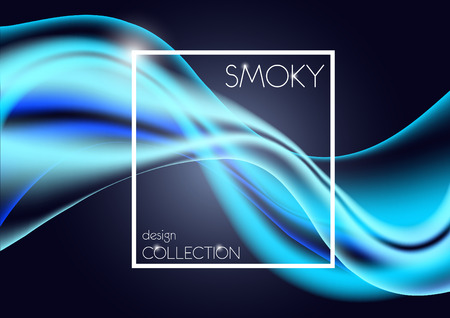 Design packaging with blue neon lines. Designer abstract background with luminous lines and a white frame for text about the product.