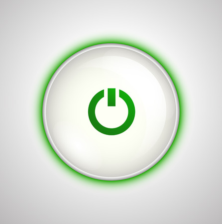 White on  off button on the unit with the green light. Glass smooth plastic button realistic vector