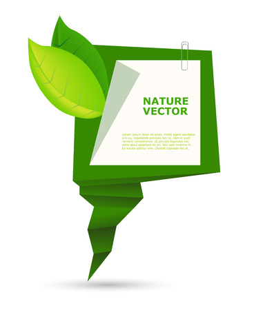 Abstract Organic Banner Natural scope of environmental protection. The information panel with green leaves.