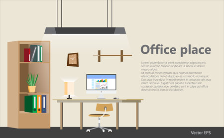 Office work place template vector illustration