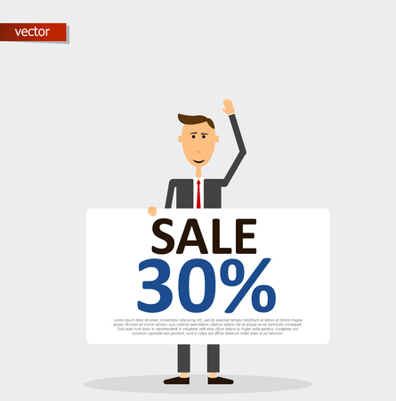Discount sale 30% card hold man. Man in a business suit advertizes a discount. Work in the field of management. The manager distributes discount cards for 30%. Vector illustration character. 向量圖像