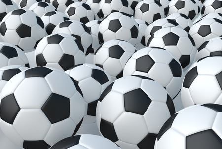 Background from soccer football balls, 3d render illustration. Abstract sport background pattern