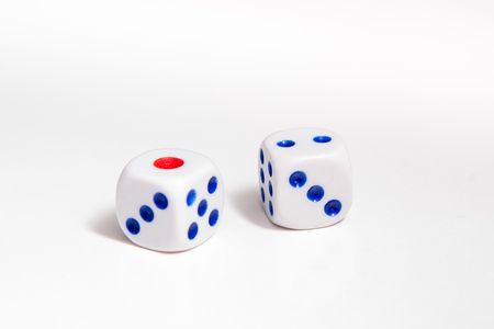 Games with dice. Casino object, white dise on white background Stock Photo