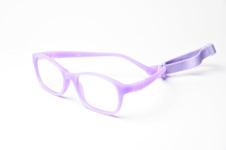 Stylish, trendy, modern kids eyeglasses rim on white background in studio.