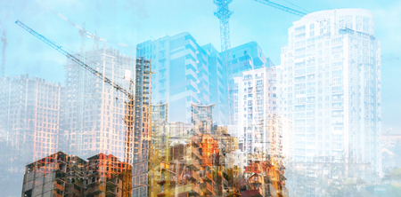 Multi exposure creative presentation development construction project. City management real estate and architecture. Construction of modern high-rise buildings Stok Fotoğraf - 122455587