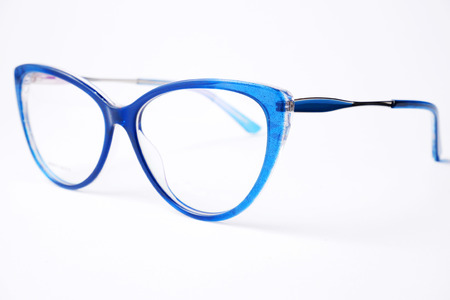 Woman blue eyeglasses. Optical and lens accessory.