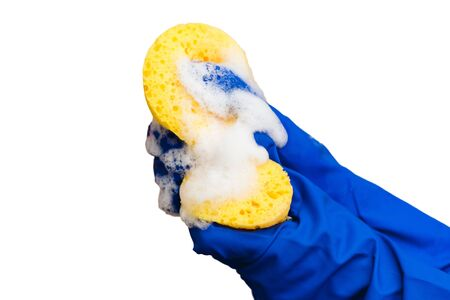 Sponge with foam. Hands in blue gloves. Washing dishes. Cleaning the house. 版權商用圖片