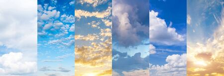 Collage of bright, delightful sky with beautiful sunsets and sunrises clouds. Images with different types of clouds at different times of the day. Archivio Fotografico
