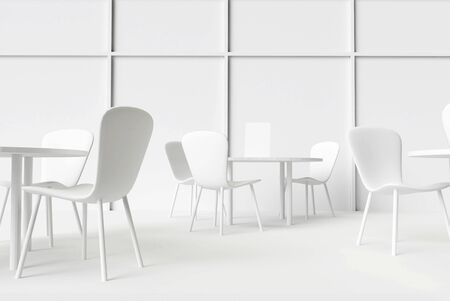 Interior cafe or restaurant indoor, tables and chairs 3d render illustration. White wall and windows model interior 3d. Conference room.