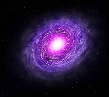 Spiral galaxy space with bright stars illustration.