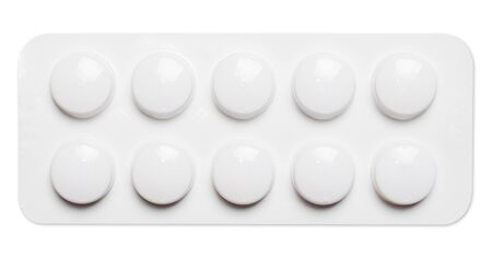 Blister of pills on a white background close-up. Medications for the disease. Pills in a pharmacy. 版權商用圖片