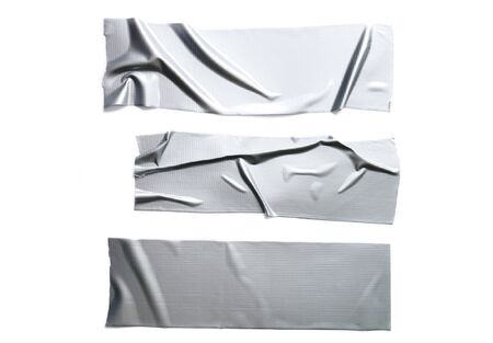 Set of various Reinforced gray tape isolated on a white background 版權商用圖片