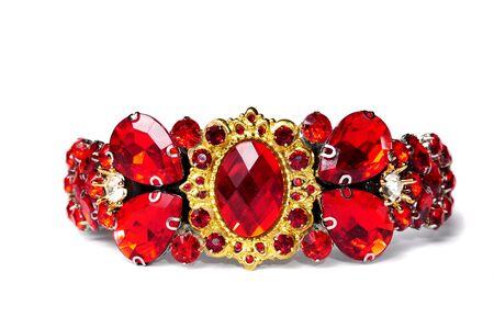 Queen antique crown diadem with red gemstones