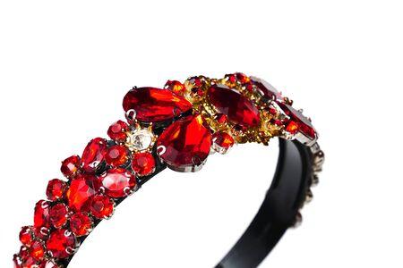 Jewelry queen crown with red gemstones Stock fotó