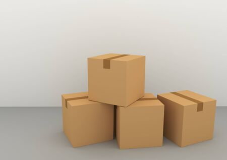 Cardboard boxes for goods and things 3d render