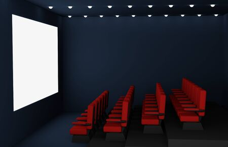 Cinema hall with red comfortable seats and a bright white large screen 3d render illustration. Blank screen in cinema mock up